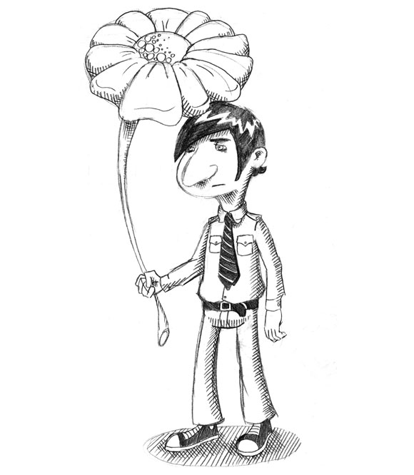kid at funeral holding flower umbrella