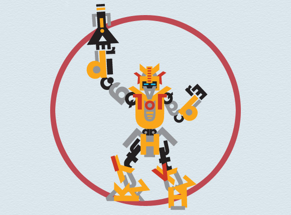 yellow robot made out of Futura Std font